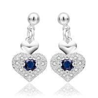 Wholesale Top quanlity A A A Europe style hot sell blue crystal heart sterling silver woman Earring