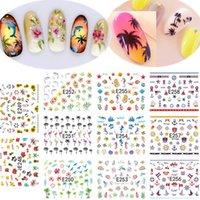 achat en gros de coco beauté-1 Set 11 Designs Beauté Coconut Tree Fleur 3d Nail Stickers Nails Astuce Stickers Manucure Décoration Outils E248-258