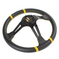 Wholesale 2pcs Momo Competition inch Aluminum Deep Dish Genuine Leather Car Steering Wheel CDE_406