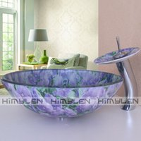 double vanity - Double purple flower Bathroom Tempered Glass Vessel Vanity Print Color Sink Bowl with Faucet