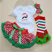 ballet t shirts - 200 TOPB4614 colors kids Christmas sets Santa Claus T shirts skirts headband TuTu Pettiskirts Ballet Tulle romper Skirts