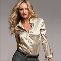 Wholesale S XXXL women Fashion silk satin blouse button ladies silk blouses shirt casual work White Black Gold Red long sleeve satin top