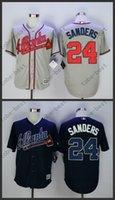 al por mayor atlanta béisbol jersey-Deion Sanders Jersey 24 Bravos de Atlanta camisetas de béisbol 100% cosido Azul Gris