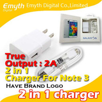 Wholesale Real Output A wall Charger Adapter Micro Usb Data Cable and USB in with retail package For Samsung Galaxy S4 S5 Note Note