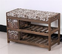 bench with storage - Modern Wooden Shoe Bench With Two Storage Basket Paulownia Solid Wood Rack Living Room Furniture Japanese Style Shoe Bench Shelf Rack