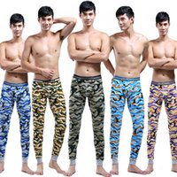 Cheap Wholesale-Winter Men's thermal underwear camouflage leggings penis Pouch mens Home tights trousers sexy long johns men shapers warm