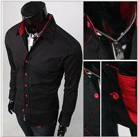 argyle dress - 2016 New Mens Casual Slim Fit Stylish Dress Shirts F56 Color Black White size M XL