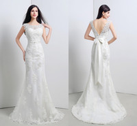 Wholesale In Stock Cheap Wedding Dresses White Ivory Crew Open Back Cap Sleeves Lace Appliques Bridal Gowns with Bow Beaded Sash Sweep Train