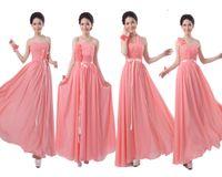 Wholesale 2015 coral Bridesmaids empire wedding formal party Pleats Chiffon Long Designer Plus size wedding under Party Dress