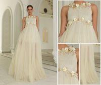 Wholesale Hot selling Vintage Evening Party Dresses Tulle Charming Handmade Flowers Neck Jewel Empire Appliques Elegant Long Dresses Beautiful