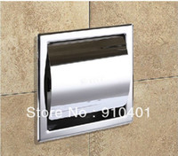 Wholesale Modern Square Polished Chrome Brass Toilet Paper Holder Tissue Box Wall Mounted