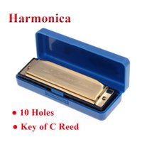 Wholesale Hot Sale Swan Holes Diatonic Key of C Reed Melodica Stainless Steel harmonica blues Musical Instrument with Case Golden Silve