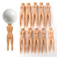 Wholesale 76mm Length Nude Lady Golf Tees Golves Clubs Individual Golfball Plastic Support Stand Divot Tools Sexy Ladies Pitch Fork Prong Bracket