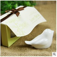 Wholesale 200pcs CCA2390 Novelty Love Birds In The Window Ceramic Salt Pepper Shakers Wedding Favors For Party Gift With Retail Box Favors