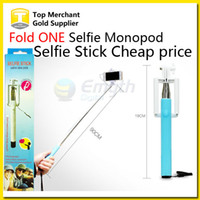 folding stick - Selfie stick cable take pole Fold one Monopod wired Extendable Handheld Built in Shutter and Clip for IOS iPhone Samsung Smart phone