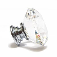 Cheap Door Pull Drawer Knob Handle Cabinet Furniture 30mm Diamond Clear Crystal Glass Hot sale