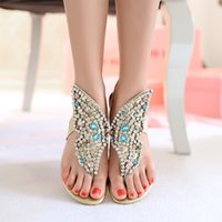 shoe clips - 2016 New Arrival Women s Bohemia Genuine Leather Sandals With Diamond Flat Heel Rhinestone Woman Clip Toe Shoes