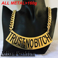 basketball wives la - New Metal Chunky Chain Trust No Bitch Necklace Basketball Wives of LA Brooke Bailey inch