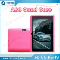 Wholesale 7inch Inch A33 Quad Core Q88 Tablet Allwinner Android KitKat Capacitive GHz DDR3 MB RAM GB ROM Dual Camera Flashlight A23 MQ100