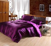 Wholesale Purple imitated silk bedding set queen king pc Solid Color quilt duvet comforter cover bed sheet bedclothes sets home textile