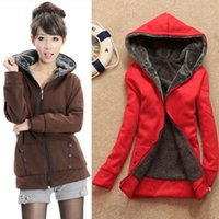 Wholesale Winter Jacket Woman Outerwear Hoodies Cardigans Full Moletom Feminino New Women Casual Thicken Hoodie Top Outerwear Coats