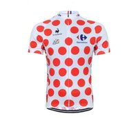 Cheap Tour De France 2015 Men Red Polka Dot Cycling Jersey Short Sleeves Ropa Ciclismo Cycling Clothing