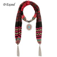 woven tie - Vintage Striped Pattern Women Winter Scarf for Ladies Resin Charm Pendant Shawl Fashion Bohemian Cheap Voile Scarves SC150359