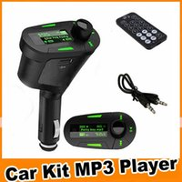 Wholesale Car Kit for car online mp3 player Wireless fm transmitter Modulator car electronics MMC Control Pen Drive Red green blue Ligh OM CG3