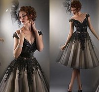 Wholesale 2014 Amazing Lace Cocktail Dresses Sheer Crew Neck A Line Black Appliques Capped Sleeves Tea Length Prom Evening Dresses Party Dress CGL010