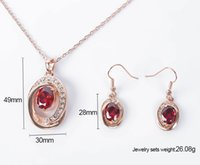Wholesale Fashion Austria Crystal Necklace Earrings Bridal Jewelry Sets Rose Gold Plated Red Ruby Wedding Jewelry Sets For Women CAL11040I