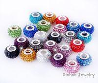 Wholesale 10x14MM fashion Silver Pandora European style New Resin Multi Crystal Charm big hole Beads Core Loose Beads Fit DIY Braceles
