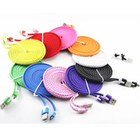 Wholesale Noodle Braided Micro USB Cable Sync Data Charging Cord Flat Woven Fabric for Samsung Galaxy S3 S4 S5 HTC Blackberry xiaomi