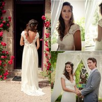 Cheap Boho Chic A-Line Wedding Dresses with Sheer Deep V Neck Backless Bohemia Lace Applique Chiffon Court Train Bridal Wedding Gowns 2015 Simple