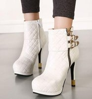 Wholesale New grid design with buckle sexy boots platform high heels white black leather boots colors size to