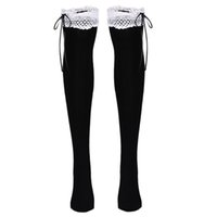 acrylic tube cover - Top Quality Fashion Women Ladies Lace High Tube Socks Above Knee Bow Decor Socks Thigh Socks Boot Cover Socks