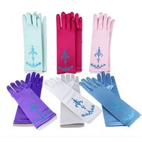 Wholesale 24CM Cartoon Girls Long Gloves Girls Dress Gloves Child Kids Girl Gloves Cosplay Fantasia Elsa Anna Cinderella Accessories Party Costume
