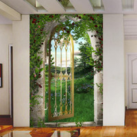 arched wood doors - D effect wallpaper mural field space to develop path extending false door Roman Arch wallpapers