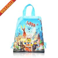Backpacks backpack school supplies - 12Pcs Lego Movie Super Hero Children Drawstring Backpacks School Bags Boys Party Bags Birtyday in Event Party Supplies