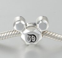 bead landing charms - Fits Pandora Bracelet Charms D60 th Anniversay Dis ney land DIY Beads Solid Silver Not Plated