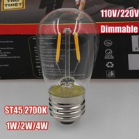 led - Dimmable LED Vintage Filament Bulb S45 Edison Style W W W Warm White K Cold White K V V AC E27 E26 Medium Base