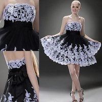 Wholesale Short Feather Prom Dress Cheap - 2015 Black And White Lace Short Prom Dresses With Strapless Backless Tulle Applique Ribbon Bow Mini Formal Party Homecoming Gowns New Cheap