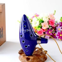 Wholesale Legend of Zelda Blue Ceramic Clay Zelda Ocarina Flute of Time Holes Alto C Flute Orcarina Musical Instrument