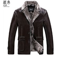 advanced coat - Fall Winter men s fur one piece business casual advanced Cortical motorcycle plus size thickening coat M XL