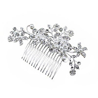 Wholesale Brand New Bridal Wedding Flower Crystal Rhinestones Pearls Women Hair Clip Comb