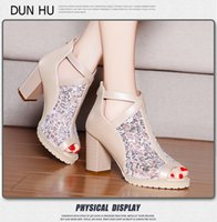 Wholesale Cloth Heels Wholesale - 2015 Spring and Summer Fashion Shoes With Breathable Mesh Fish Mouth Thick High-heeled Sandals 1128 Sequins Waterproof Zipper Beige 1128 Sta