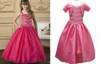 Wholesale Manmade Crystal Beads Detail Flower Girl Dresses Wedding Party Bridal Gown Organza Tank Long Train Dress w Short Jacket