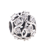 Wholesale Flower Ball jewelry set Big Hole Beads Stone beads Floral Flower sterling silver charms fit European Bracelets No90 X042