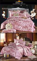 Wholesale the Luxury Jacquard silk cotton comforter bedding sets queen king size satin quilt duvet cover bed sheet bedclothes set HOME TEXTILE