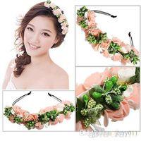 Wholesale Pink White Flower Garland Boho Floral Headband Headwear Garland Festival Wedding Bridal Hairband Women
