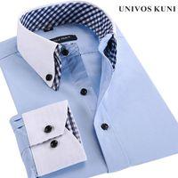french cuff shirt - Men Shirt Plaid French Cuff Button Mens Dress Shirts Social Fashion Non Iron Long Sleeve Slim Business Formal shirt XL FHY93